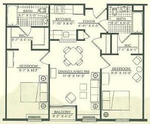 2 Bedroom 2 Bath House Plans | Wingler House East 2 Bedroom 2 Baths
