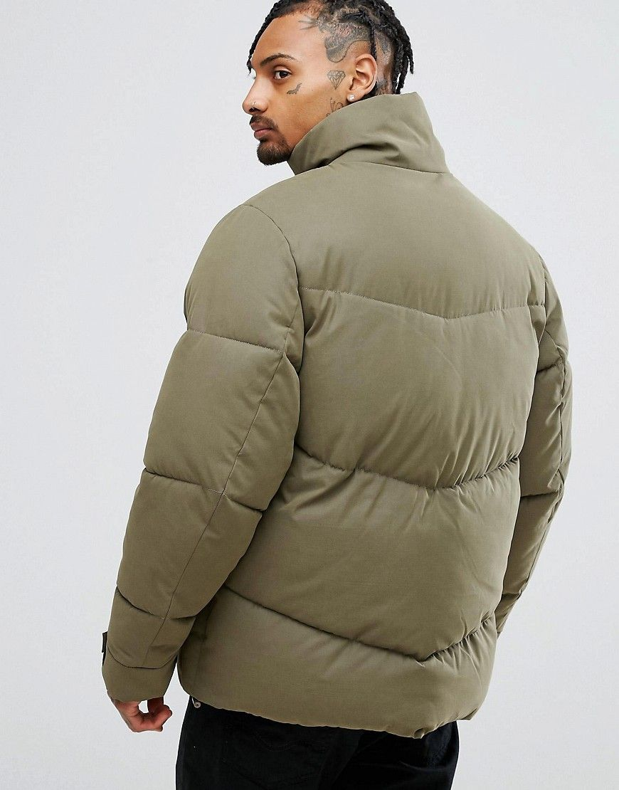 Asos Oversized Puffer Jacket In Khaki Green Oversized Puffer Jacket Jackets Latest Fashion Clothes [ 1110 x 870 Pixel ]