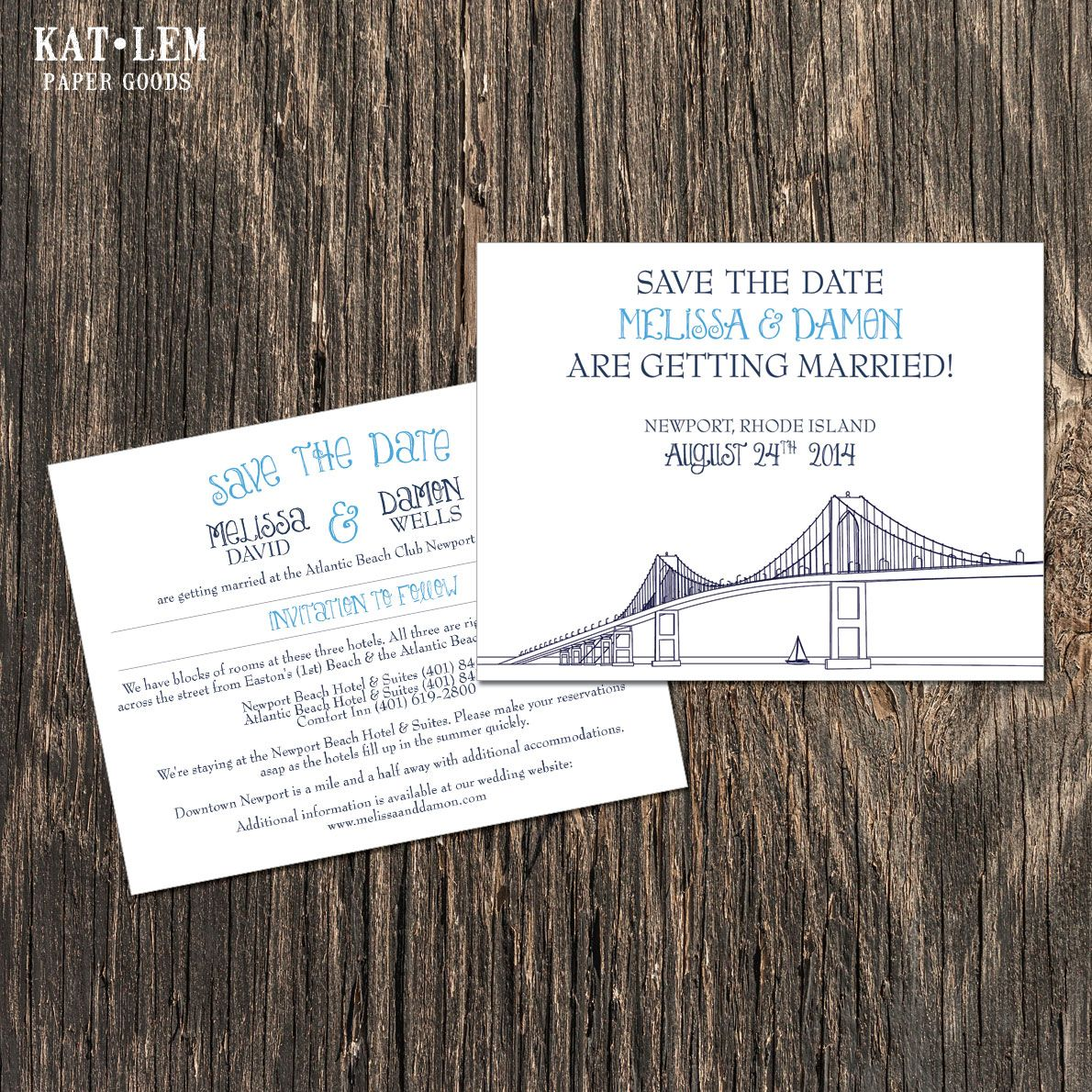 Rhode Island Wedding Invitation Printed: Newoprt Bridge Save The Date Card With Hotel Information