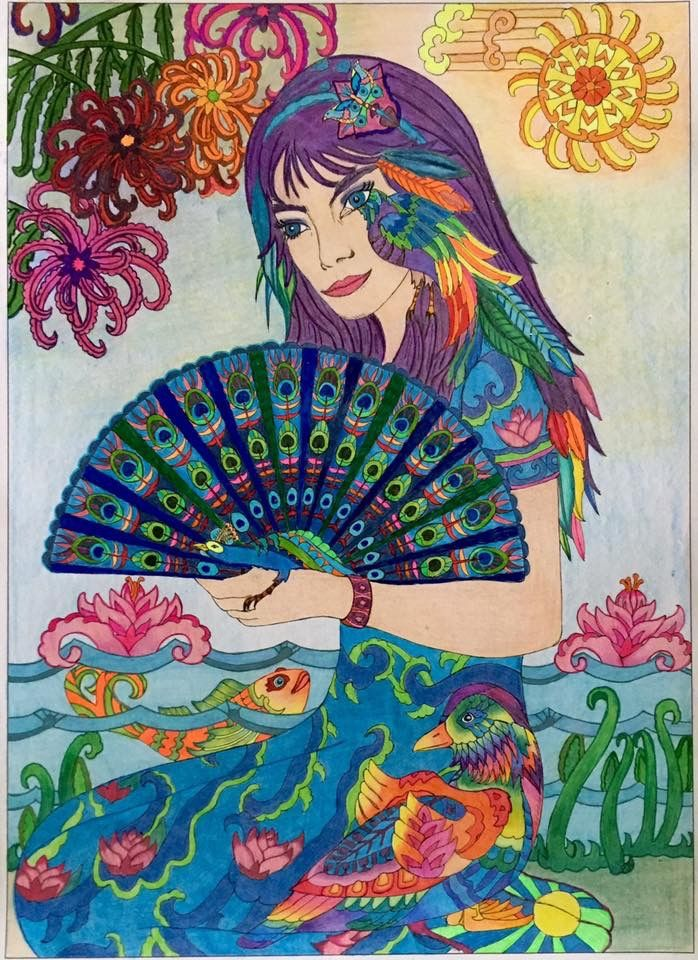 Color Me 4 Adult Colouring Girl With Fan