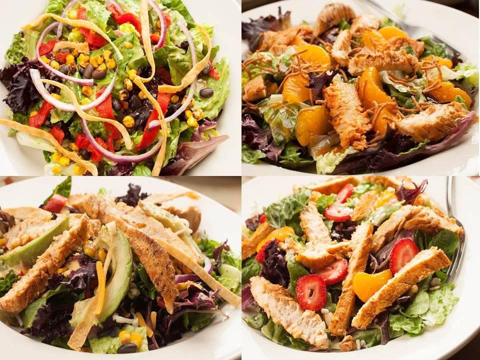 The oriental, verano, griega, and guadalajara salads