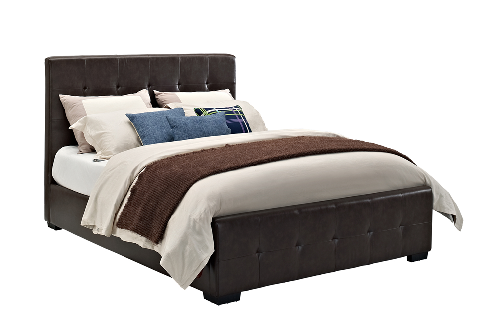 Fancy this! Fusing traditional and modern elements, the DHP Florence Upholstered Bed lends a sleek, yet romantic feel to your bedroom. Lavishly tufted, the tall headboard and matching lower footboard are draped in a rich faux leather that works great with an array of bedroom styles. Featuring 24 wooden slats to support your mattress, this bed can be used without a box spring or bunkie board. Mix this bed with light bedding for a modern, crisp look. Available in two sizes – full or queen –…