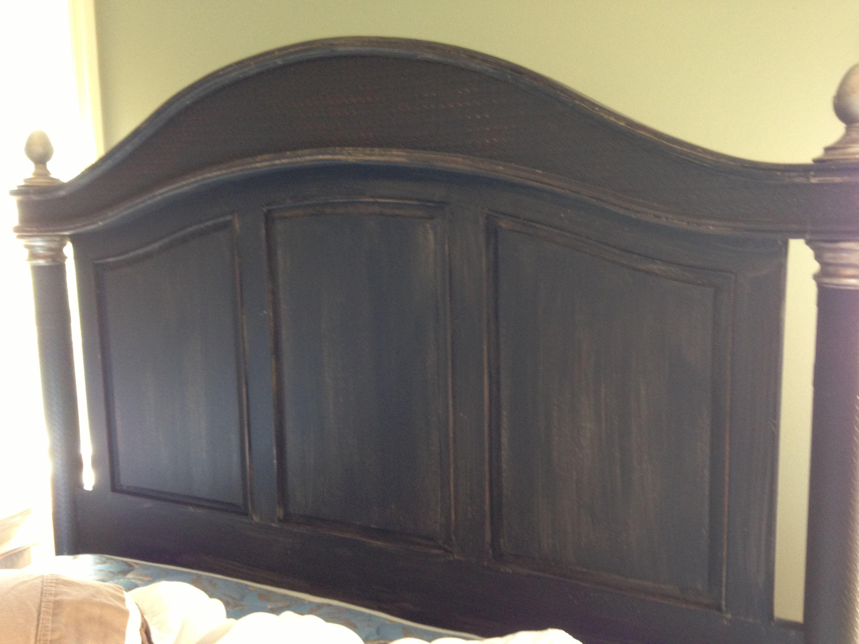 Distressed Black Painted Headboard White Washed Furniture Black Headboard Headboard