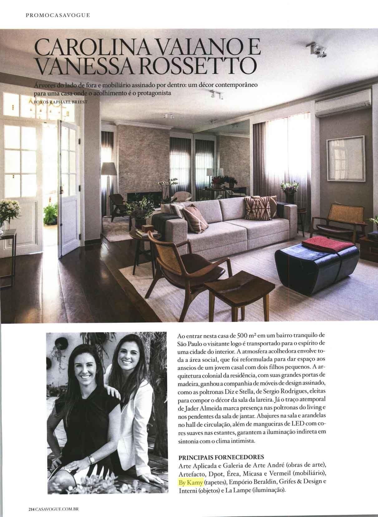 Tapete da by Kamy presente no ambiente de Carolina Vaiano e Vanessa Rossetto, Revista Casa Vogue - jan 2016 (pág. 214)