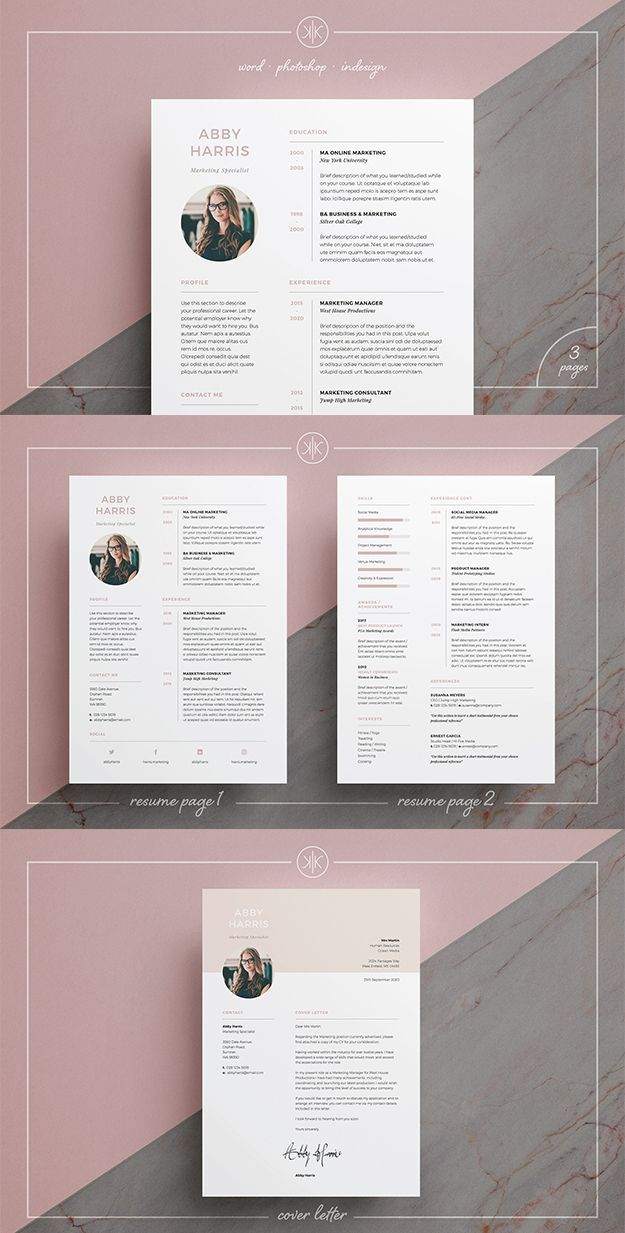 Professional Resume Cv And Cover Letter Template With A Fresh