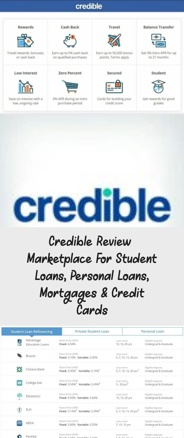 Credible Review Marketplace For Student Loans Personal Loans Mortgages Credit Cards Credit Score In 2020 Personal Loans Refinance Student Loans Student Loans