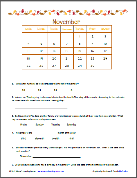 November Calendar Worksheet | November Calendar, Worksheets and ...