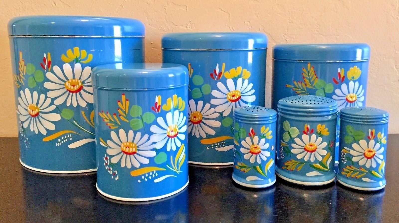 Vintage 7 Piece Ransburg Tin Canister Set, Salt, Pepper, Sugar/Flour ...