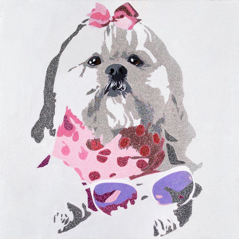 Beausy Bear Is An Original Work Of Art Created By Julie Ahmad They Have A Pop Art Quality Combining A Flat Graph With Images Purple Painting Bear Paintings Pink Painting