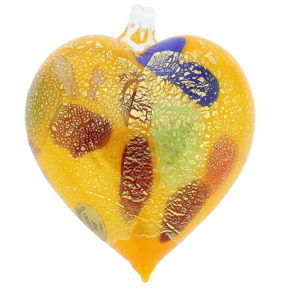 Murano Glass Heart Christmas Ornament Yellow Gold Heart Christmas Ornaments Murano Glass Heart Art Glass Ornaments