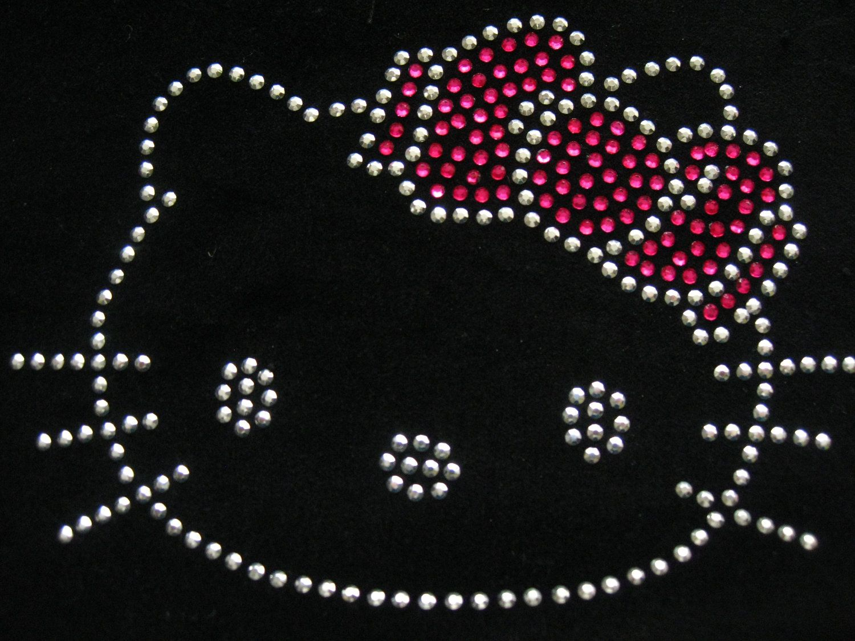 HELLO KITTY DRESS Iron On Hotfix Rhinestone Diamante Transfer Motif