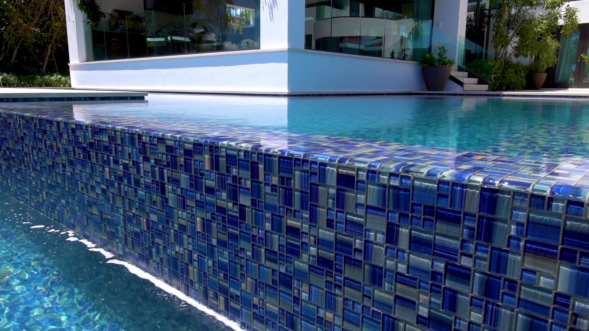 Mto0090 Modern Modular Blue Yellow Glossy Glass Mosaic Tile Video Mosaic Pool Swimming Pool Tiles Glass Pool