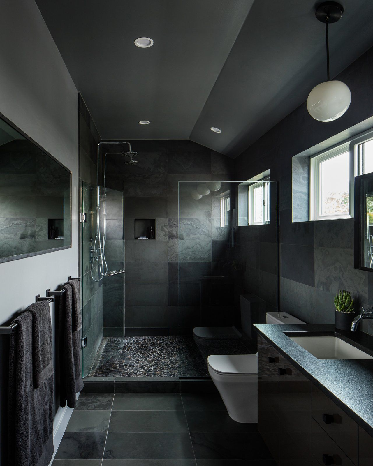Modern home with bath room engineered quartz counter ceiling