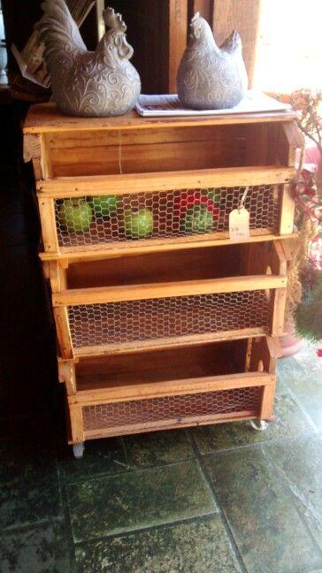 Adhesivo De Bicicletas ~ Fruteira feita com caixas de madeira DIY Arte com