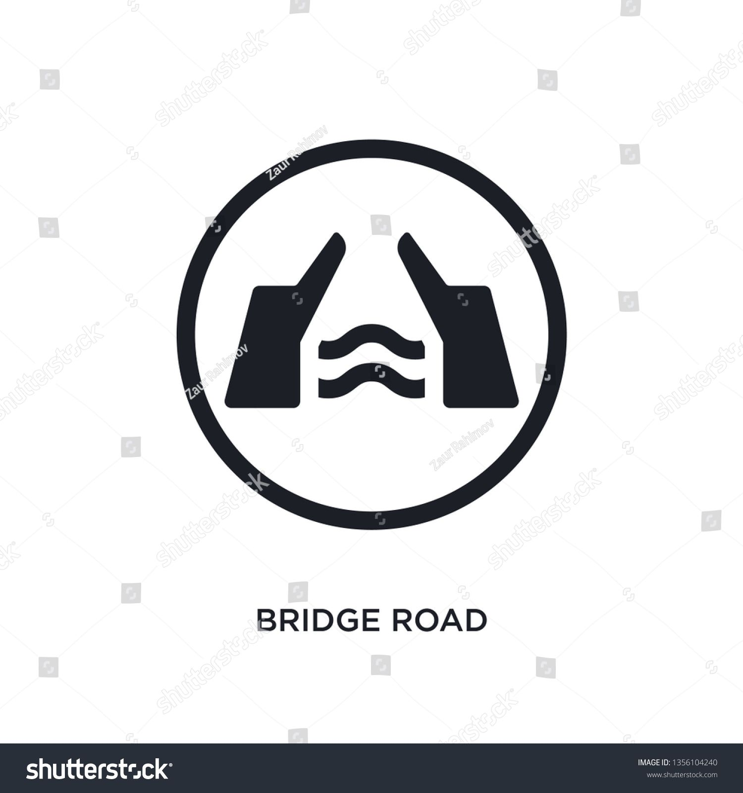black bridge road isolated vector icon simple element illustration from traffic signs concept vector icons bridge road editable logo symbol design on white background can...