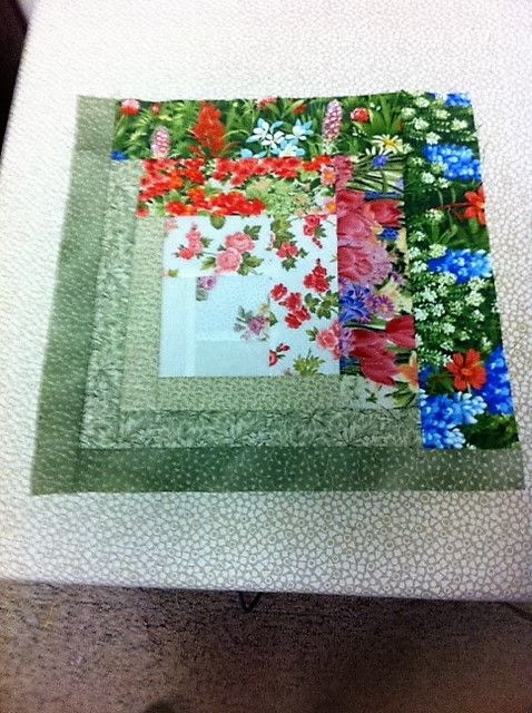 Finally finished my floral log cabin blocks | Quilting | Pinterest ...
