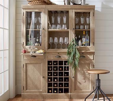 6 Piece Modular Bar Wall Unit 2 Wood Door Cabinet 1 Wine Grid