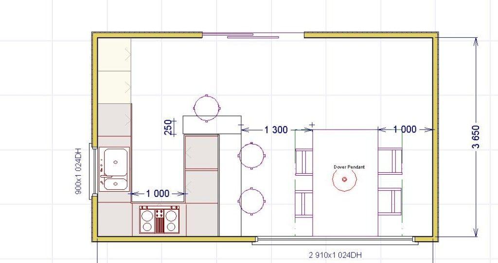 Cucina con penisola 1024 542 spazio minimo cucina isola pinterest - Altezza isola cucina ...