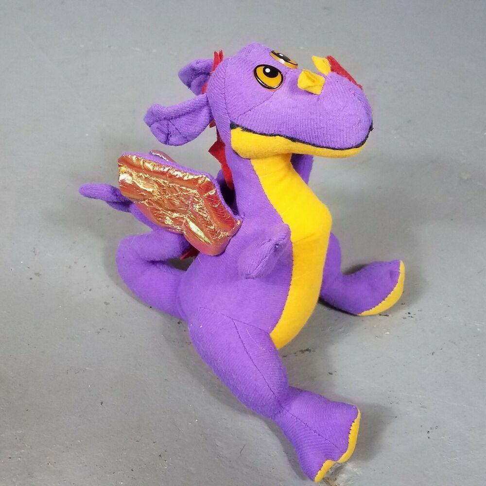 Vintage Acme Dragon Purple 11 Plush Stuffed Animal Toy Iridescent
