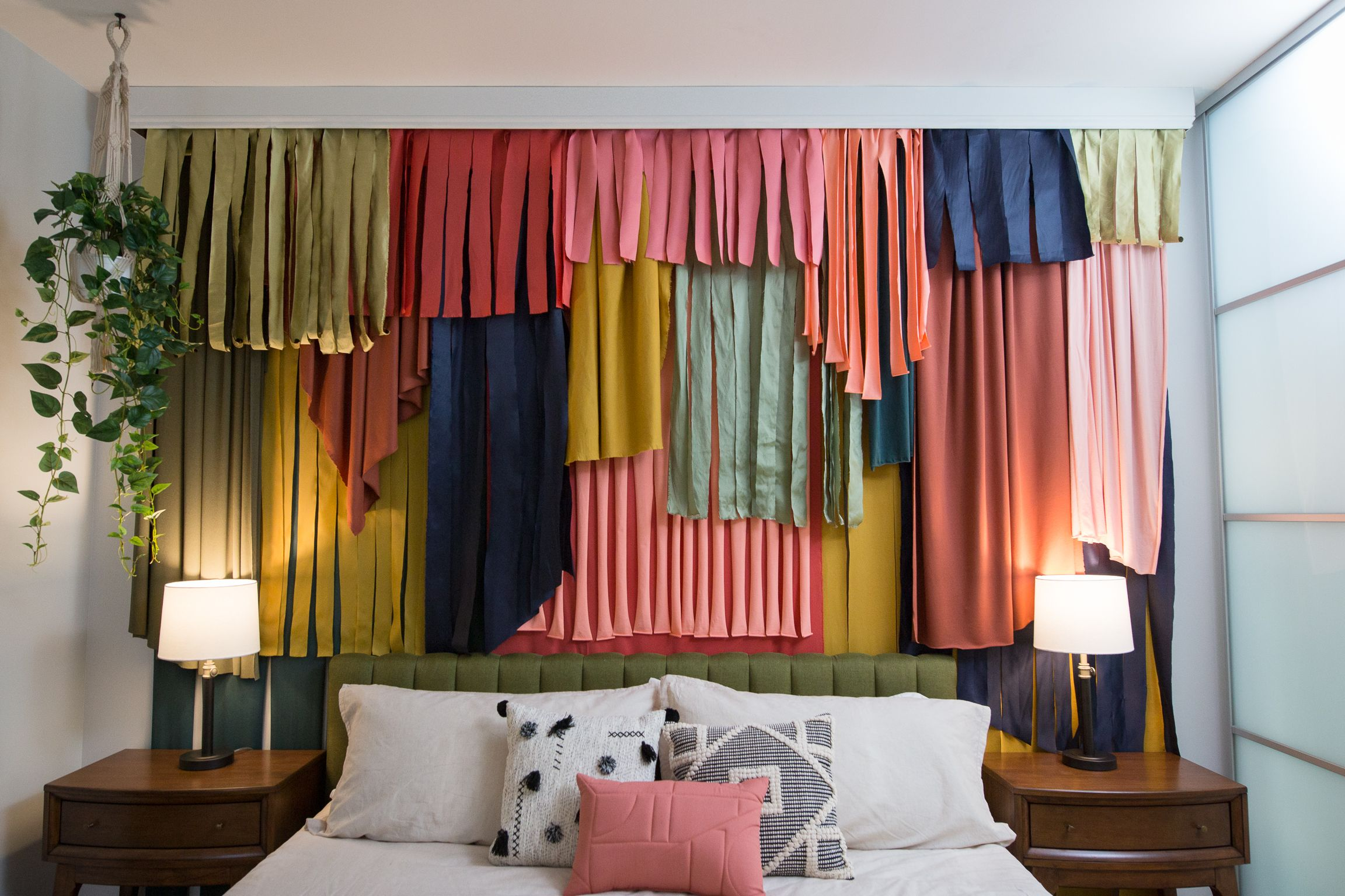 Diy Layered Curtain Wall Layered Curtains Headboard With