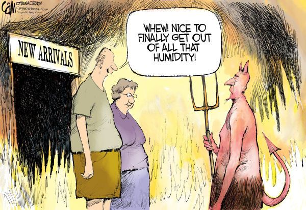 5 cartoons about today's heat wave | Hot weather humor, Funny ...