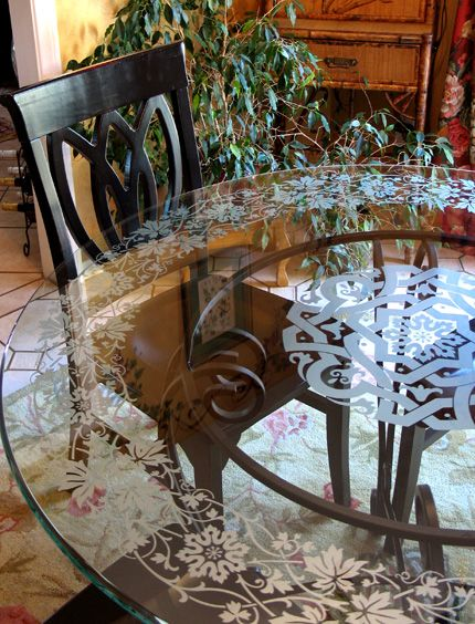 Etchlook Window Etching Paint Pattern Decor Mirrored Furniture Glass Top Table