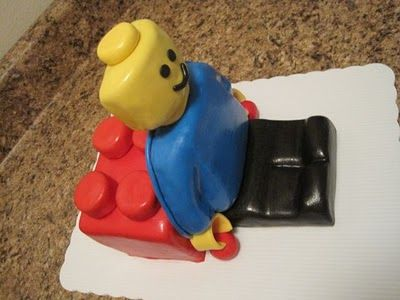 Instructions on how to take the Lego man cake mold and cut it up ...