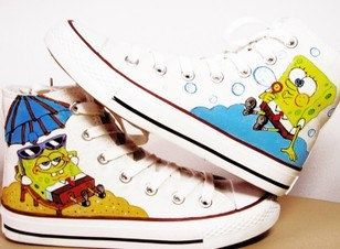 7032abe718bd SpongeBob SquarePants Hand-painted shoes SpongeBob Shoes via Etsy Converse  Sneakers