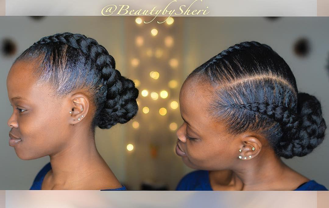 Feed In Jumbo Braids Natural Hair Updo W Bun Beautybysheri Braidsbysheri Naturalh Feed In Braid Natural Hair Updo Protective Hairstyles For Natural Hair