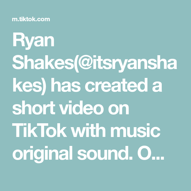Ryan Shakes Itsryanshakes Has Created A Short Video On Tiktok With Music Original Sound Omg This Is How How You Get A Free Drink Music The Originals Sound