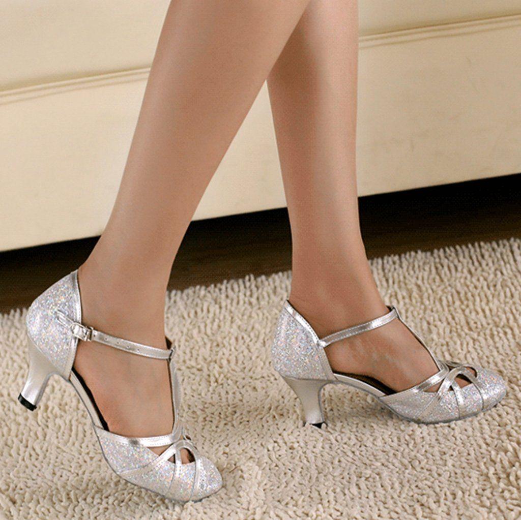 Minishion QJ6133 Womens Kitten Heel Silver Glitter Salsa Tango ...