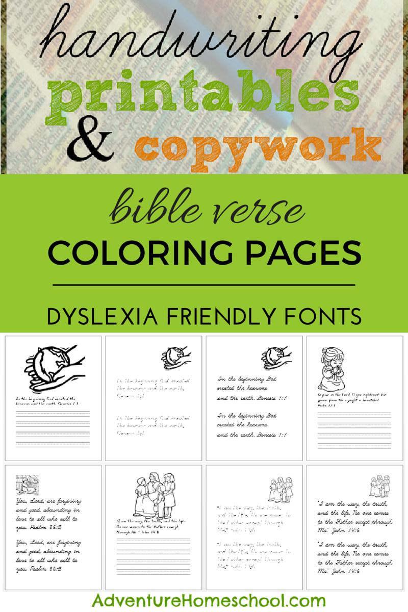 Bible Coloring Dyslexia Friendly Copywork and Handwriting Sheets ...