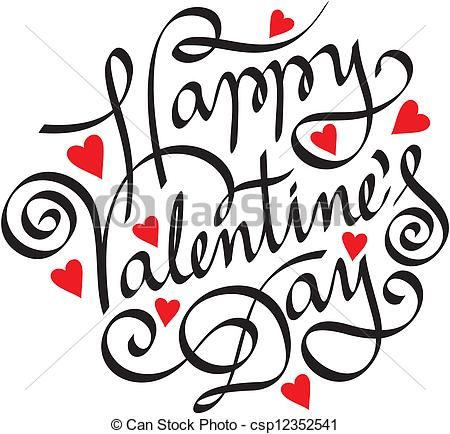 eps vector of happy valentine day hand lettering csp12352541, Ideas