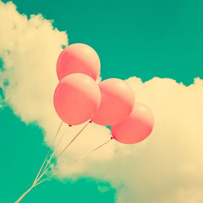Happy Pink Balloons on retro blue sky  Art Print by Andreka