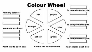click here for pdf Color wheel worksheet, Color wheel