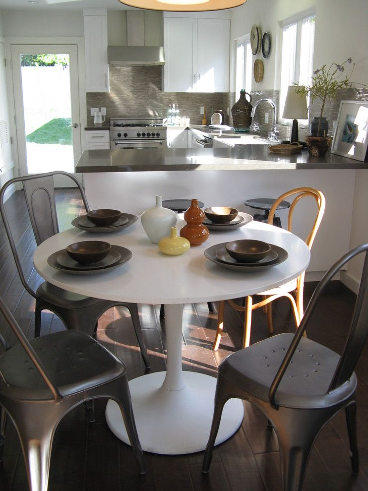 Kitchen Table Sets Ikea Chairs White Round Top Table Dark Floor