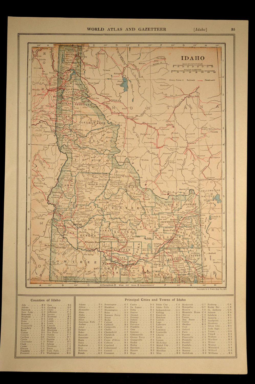 Idaho Map Idaho Railroad Antique Original 1920s Detailed | Idaho ...
