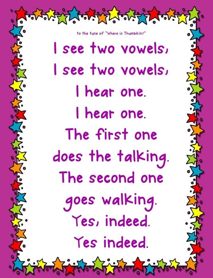 Vowel Teams Song and Flash Cards | Fantastic FREEBIES | First grade