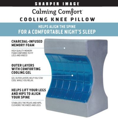 Sharper Image Calming Comfort Charcoal Infused Cooling Knee Pillow