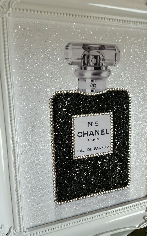 unique 10x8 shabby chic chanel no5 canvas print swarovski crystals glitter ebay diy vanity. Black Bedroom Furniture Sets. Home Design Ideas