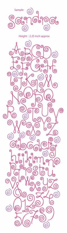 Curlz Font Free Machine Embroidery Designs Artes Pinterest