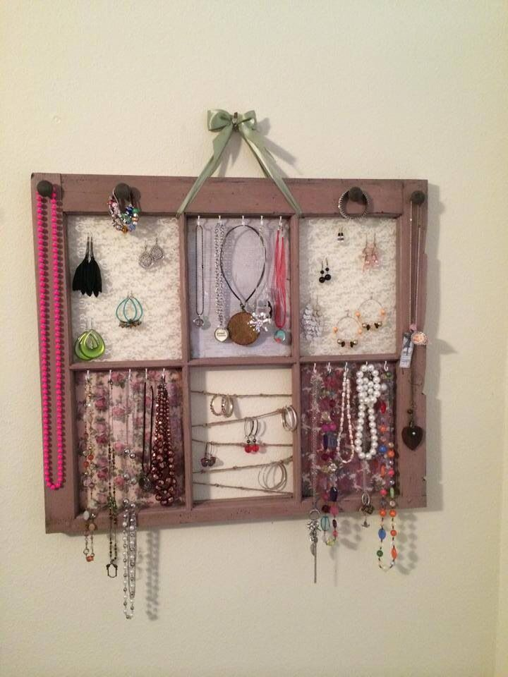 Old window jewelry organizer custom made and available @ https://m.facebook.com/BornAgainDeCor