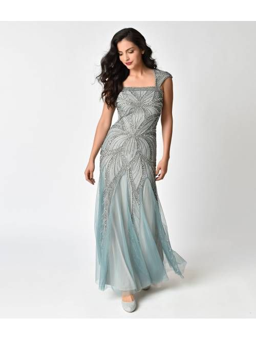 c3917f44c20f Frock and Frill Mint Green & Silver Embellished Bradi Maxi Dress ...