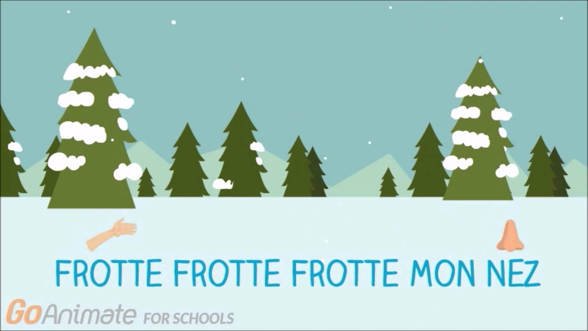 Simple Lyric Video With Some Helpful Graphics For The Song La Neige Tombe Sur Mon Nez Winter Theme Kindergarten Learning French For Kids Winter Songs For Kids