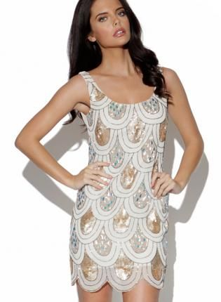 Sequin Embellished Tear Drop Dress with Scalloped Hem e12f93ee7