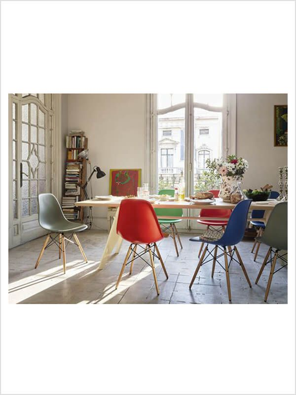 chaise eames dsw vitra charles ray eames pietement erable fonce