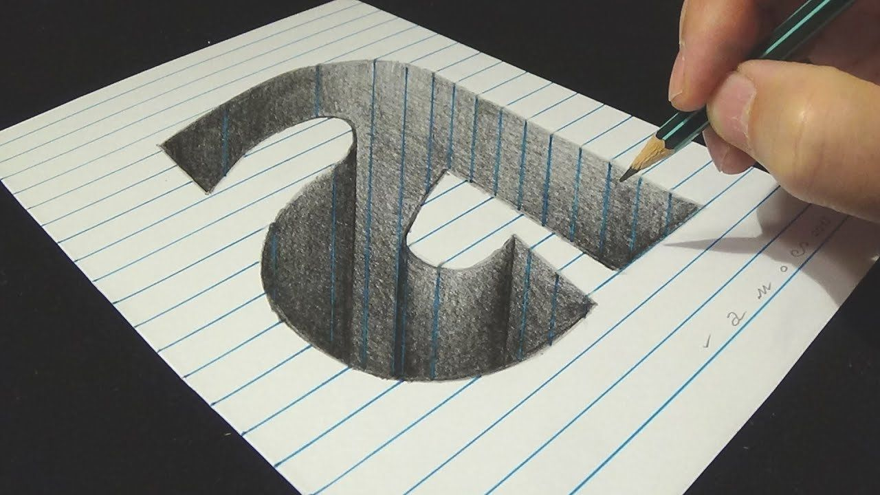 Drawing letter a hole illusion 3d trick art on line paper with penci