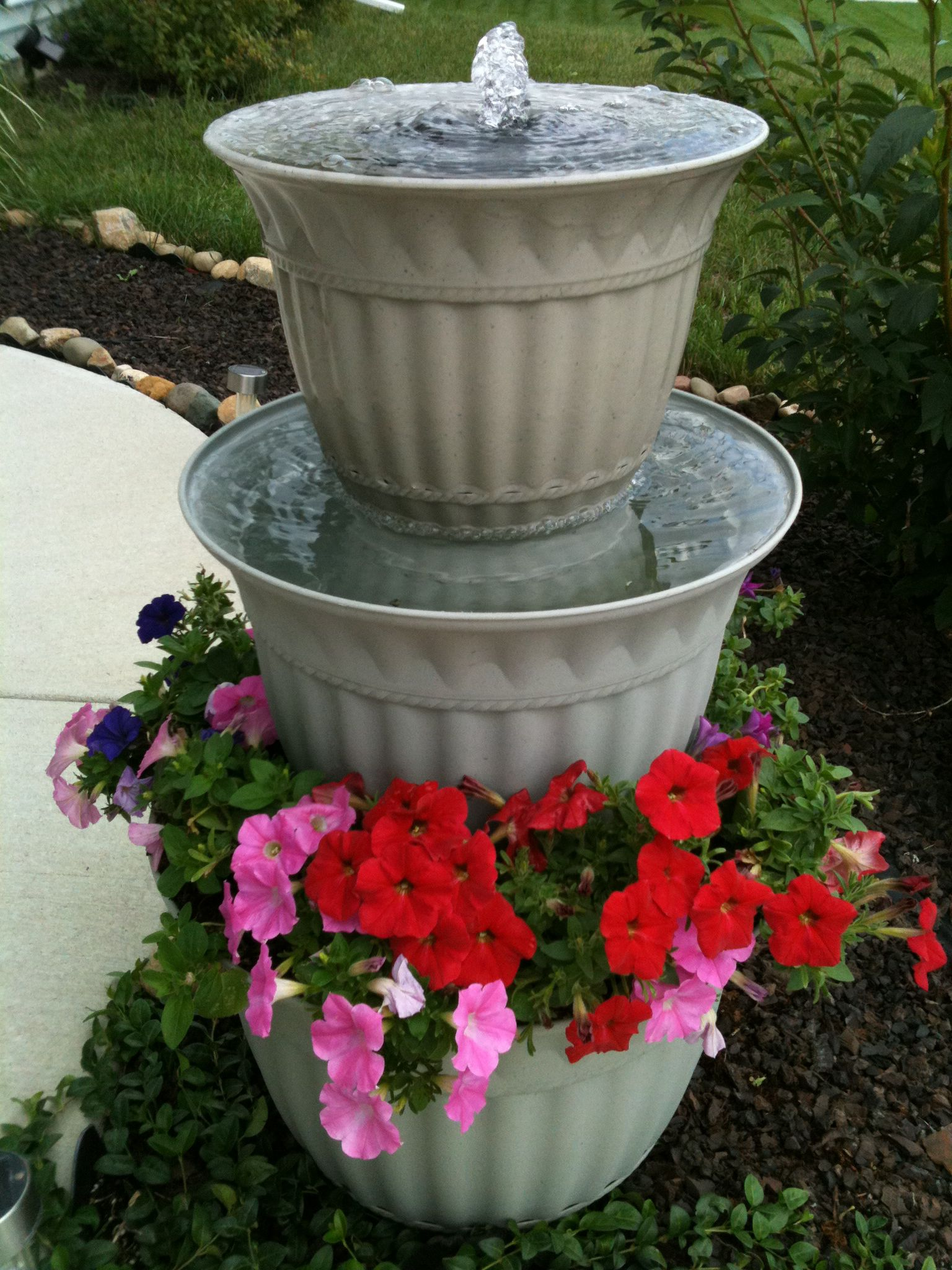 Homemade Fountain I Made From Plastic Planters Garden Water Fountains Diy Water Fountain Diy Garden Fountains