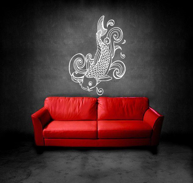 Gift Wall Vinyl Sticker Decals Mural Design Beautiful Japanese Koi - Wall decals on furniture