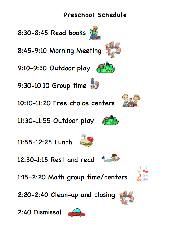 Preschool Agenda With Pictures  Preschool Schedule  Marcy